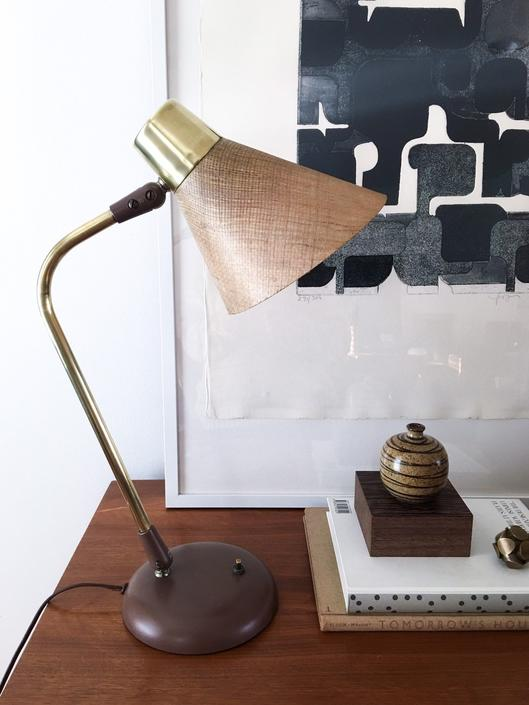 Gerald Thurston for Lightolier Modernist Brass and Grasscloth Lamp Vintage Mid century Table Desk by CaribeCasualShop