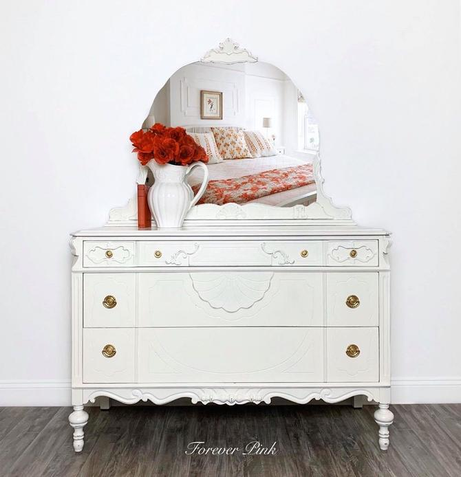 NEW - Vintage White Three Drawer Dresser with Mirror by ForeverPinkVintage