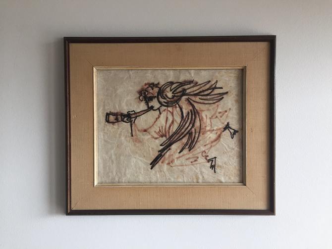 Mid Century Modern Original Angel Gabriel Drawing Painting by ModandOzzie