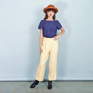 80s Light Yellow Rayon Pants Vintage Straight Elastic High Waisted Trousers by AppleBranchesVintage
