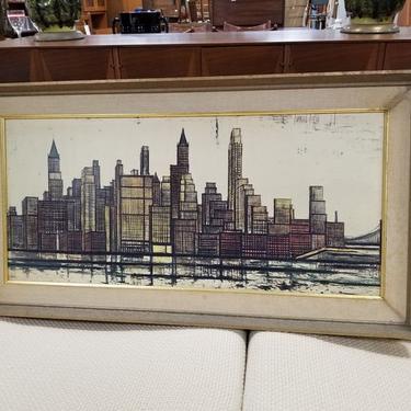 Mid-Century Benard Buffet cityscape print