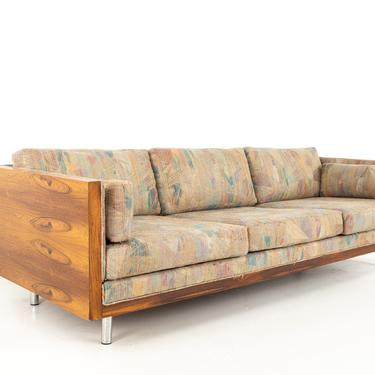 Milo Baughman Style Mid Century Rosewood Case Sofa - mcm by ModernHill