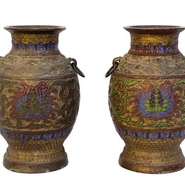 Pair of Antique Japanese Champleve Bronze Vases    19th Century Enamel Double Handle Heavy-Weight Urns by ELECTRICmarigold