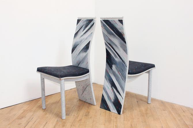 Postmodern 80s Chairs Dining Pair High Back Memphis Vintage by 330Modern