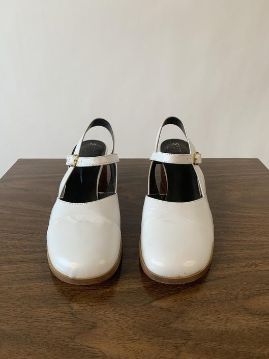 1970's White Leather Wedges