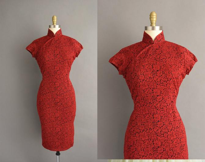 1950s vintage dress | Gorgeous Red & Black Floral Lace Cheongsam Cocktail Party Wiggle Dress | Large | 50s dress by simplicityisbliss