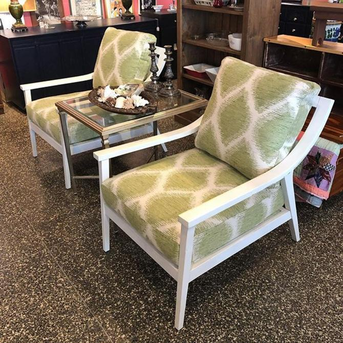 Groovy green and white chairs! Perfect for a covered porch or balcony! Super high quality. $495 each