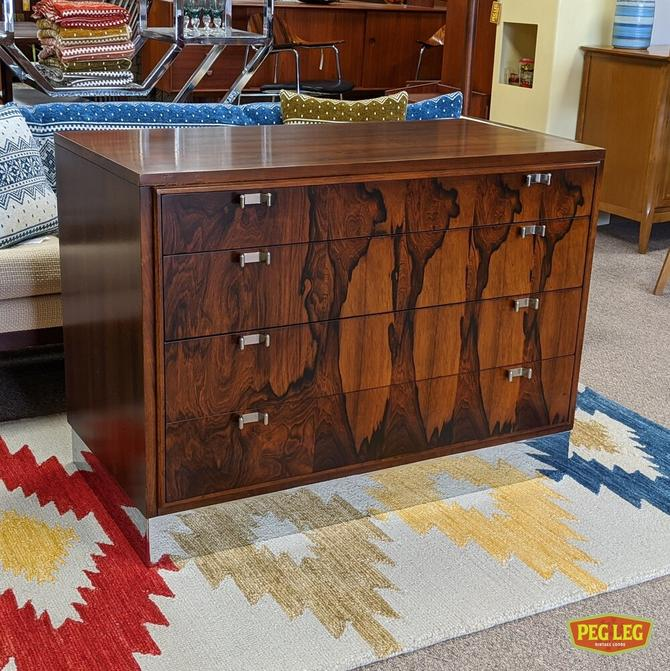 Rosewood and walnut bachelor's chest with polished chrome base