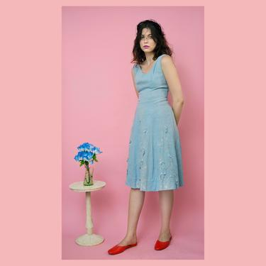 vintage 50s powder blue floral embroidered appliqué day dress by FlowerInTheMirror
