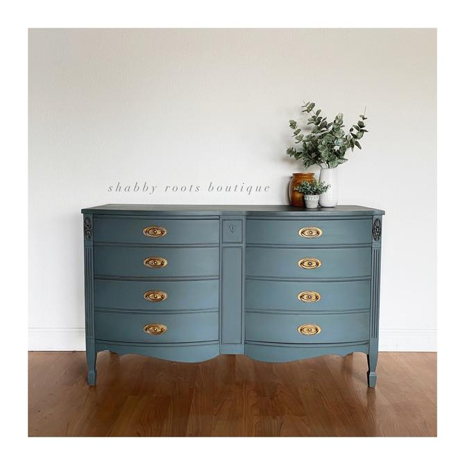 NEW! Antique bow front long dresser beautiful muted dusty blue color with brass gold hardware - chest of drawers- San Francisco CA by ShabbyRootsBoutique
