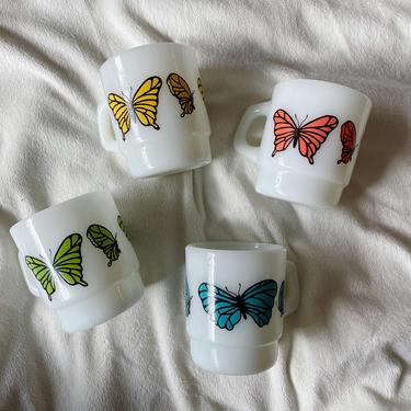 Anchor Hocking Milk Glass Butterfly Coffee Mug | PRICE PER MUG | Vintage Coffee Cup by BrassBluebonnets