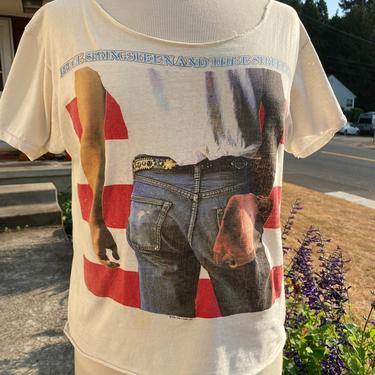 """1984 Bruce Springsteen & the E street band tour T-shirt~ Rock Tee~ Authentic~ """"born in the USA"""" distressed~ size Medium by HattiesVintagePDX"""