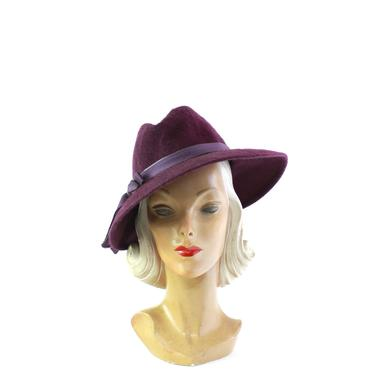 1970s Deep Purple Fedora - Vintage Purple Fedora - Vintage Womens Fedora - Vintage Mohair Fedroa - Aubergine Fedora - 1970s Womens Hat by VeraciousVintageCo
