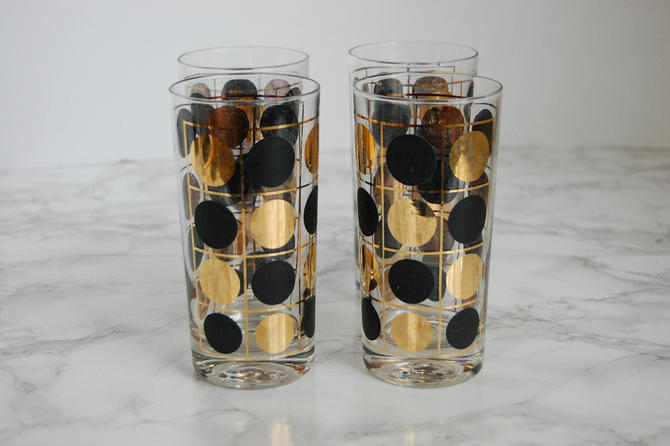 Vintage Polka Dot Gles Highball Tumblers Mid Century Barware Black Gold Glware By