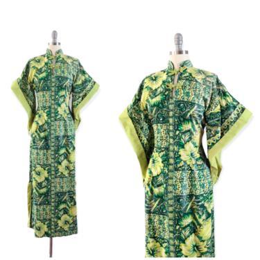 RESERVED on LAYAWAY /// 40s Green Floral Hawiian Print Pake Mu Dress / 1940s Vintage Pake Muu Novelty Print Cotton Dress / Medium / Size 6 by CheshireVintageShop