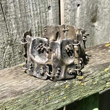 Vintage Silver Cuff Bracelet Linked Brutalist Modernist Abstract Jewelry Artisan Modern Fashion by FlyTimesVintage