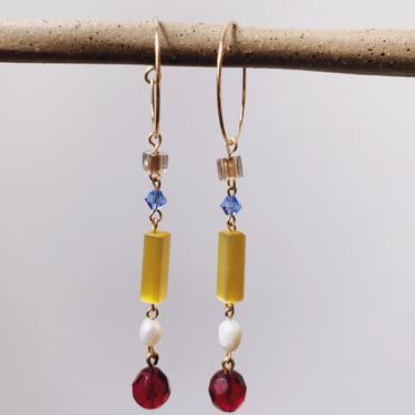 Cranberry Seltzer Earrings // Freshwater Pearl & Crystal Drop Earrings by mammothandminnow