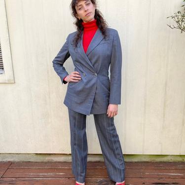 Vintage 90s Gianfranco Ferre Striped double breasted Gray Minimalistic Power suit Blazer Jacket Pants S M by prismavintageatx