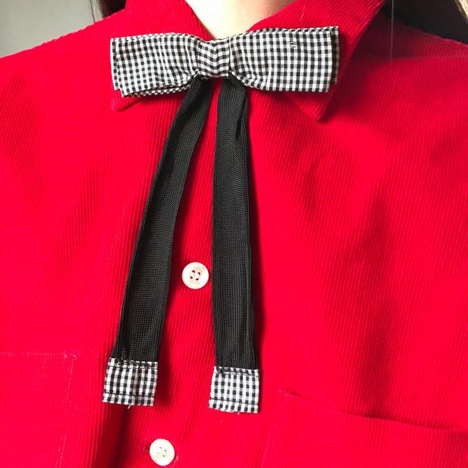 Vintage Gingham Western String Tie by SpeakVintageDC