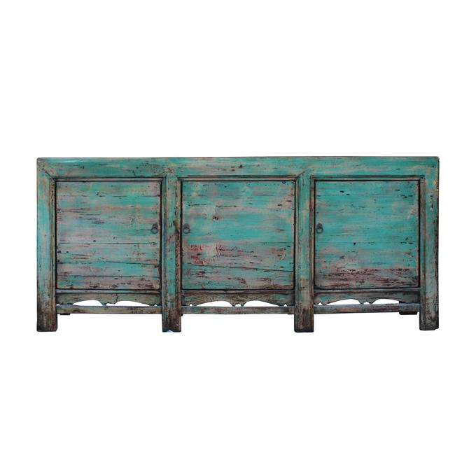 Distressed Pastel Teal Blue Finish High Credenza Console Buffet Table cs5362S