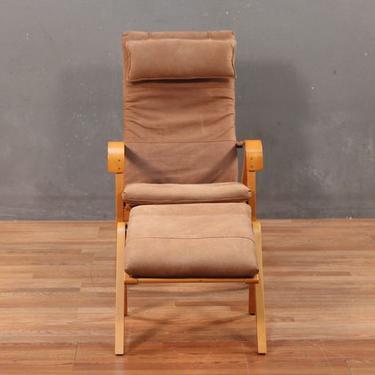 Retro Ikea Rimbo Leather & Blonde Lounge Chair with Ottoman