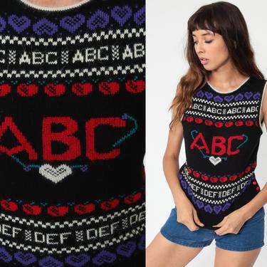 Alphabet Sweater Vest Top ABC Knit Vest Striped Vest Sleeveless 80s Vintage Kawaii Vest Nerd Sweater Black Angora 1980s Acrylic Small 4 by ShopExile