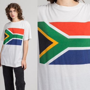80s South African Flag T Shirt - Extra Large | Vintage Unisex Africa Graphic Tourist Tee by FlyingAppleVintage