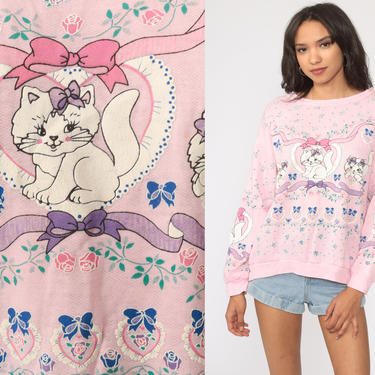 Pastel Cat Sweatshirt Fairy Kei Kitten Sweater 80s Kawaii Puffy Paint Pink Vintage 90s Graphic Retro Crewneck Pastel Novelty Print Large by ShopExile