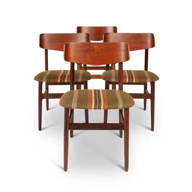 Set of Four Vintage Walnut & Teak Danish Modern Dinning Chairs by MCMSanFrancisco