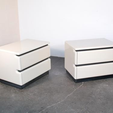Pair of Vintage 1980s Ivory Lacquered Nightstands by Roger Rougier Post Modernist by IridiumInteriors