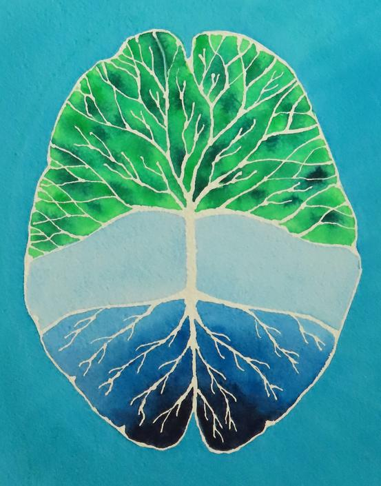 Root and Branch Brain -  original watercolor painting - neuroscience art by artologica