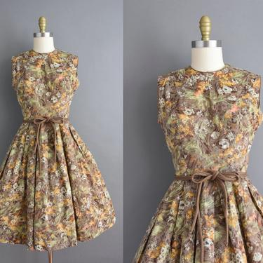 vintage 1950s | Orange & Green Floral Print Sleeveless Full Skirt Cotton Day Dress | Small | 50s dress by simplicityisbliss