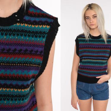 80s Sweater Vest Knit Tank Top Sleeveless Shirt 80s Black Geometric Striped Vest Vintage 1980s Bohemian Small S by ShopExile