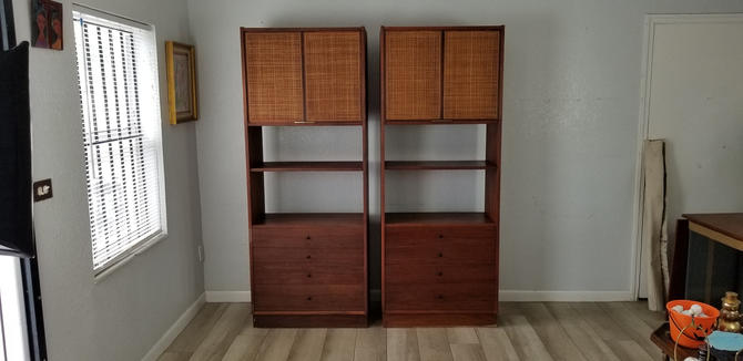 George Nelson Herman Miller Style Walnut Bookcase Etagere a Pair . by MIAMIVINTAGEDECOR