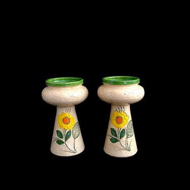 Vintage Mid Century Modern Italian Pottery Candleholders / Vases Aldo Londi Bitossi Italy Rosenthal Netter 20th Century Classic Design 1960s by SwankyChaperooo