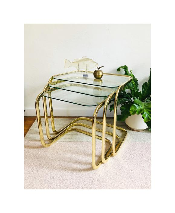 Vintage Brass Pill Shaped Nesting Cantilever Side Tables / Set of 3 by SergeantSailor