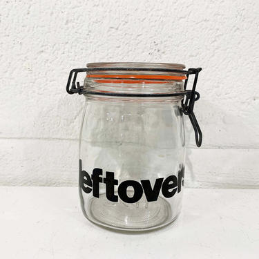 True Vintage Glass Kitchen Canister MCM Typography Leftovers Storage 3/4 Liter Glass Canning Jar Triomphe France Hermetic Seal Metal Bale by CheckEngineVintage