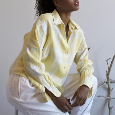 light yellow plaid linen shirt / S M L by EELT
