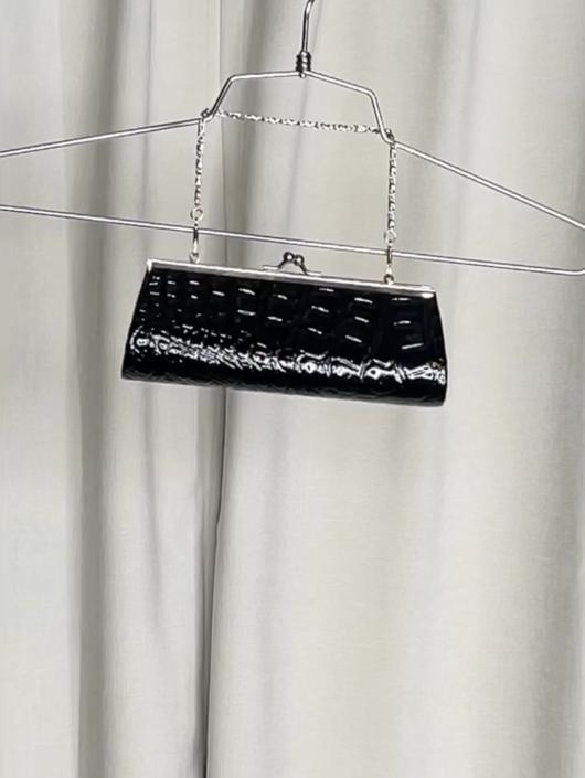 Vintage Black Shiny Croc Embossed Mini Bag