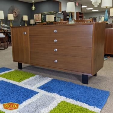 Mid-Century Modern walnut credenza from the Basic Cabinet Series by George Nelson for Herman Miller