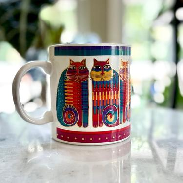 Vintage Laurel Burch Mug, Rainbow Cat Cousins - 1988, White Teal Fuschia Gold Red Orange Purple, Collectible by VenerablePastiche