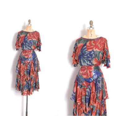 Vintage 1980s Dress / 80s Judith Ann Indian Silk Two Piece Set / Red Blue ( medium M ) by lapoubellevintage