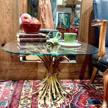 Gilt metal sheaf of wheat cocktail table
