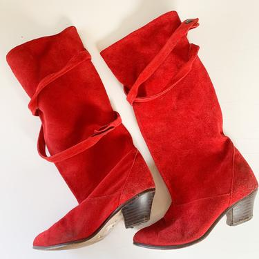Vintage 1980s Red Suede Knee High Boots / 6.5M by MsTips