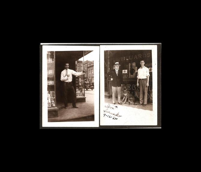 Vintage Black and White Photos - 1920s - Men at Billiards Hall - Man
