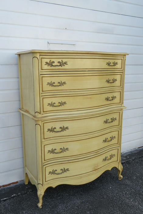 French Painted Tall Serpentine Chest of Drawers 1324