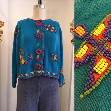 1980s beaded sweater, vintage 80s cardigan, Michael Simon sweater, size medium, novelty print sweater, ethnic style sweater, artsy by melsvanity