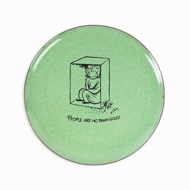 """William Steig Enameled Plate """"People Are No Damn Good"""" Vintage Copper Bernad by VintageInquisitor"""