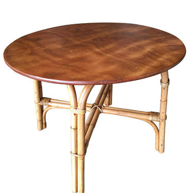 """Restored Large 31"""" Round """"X"""" Base Rattan Coffee Table with Oak Top by HarveysonBeverly"""