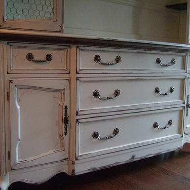 Antiqued White, French Entertainment / TV cabinet by Artisan8